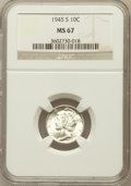 Mercury Dimes: , 1945-S 10C MS67 NGC. NGC Census: (1044/362). PCGS Population(345/1). Mintage: 41,920,000. Numismedia Wsl. Price for proble...