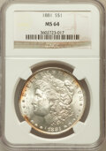 Morgan Dollars: , 1881 $1 MS64 NGC. NGC Census: (3946/681). PCGS Population(4023/1037). Mintage: 9,163,975. Numismedia Wsl. Price forproble...