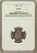 Bust Dimes: , 1834 10C Small 4 XF45 NGC. NGC Census: (12/242). PCGS Population(10/158). Mintage: 635,000. Numismedia Wsl. Price for prob...
