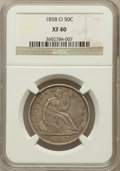 Seated Half Dollars: , 1858-O 50C XF40 NGC. NGC Census: (27/286). PCGS Population(61/350). Mintage: 7,294,000. Numismedia Wsl. Price for problem ...