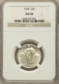 Standing Liberty Quarters: , 1928 25C AU58 NGC. NGC Census: (77/461). PCGS Population (98/584).Mintage: 6,336,000. Numismedia Wsl. Price for problem fr...
