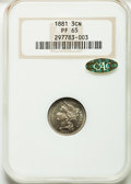 1881 3CN PR65 NGC. Gold CAC. NGC Census: (290/302). PCGS Population (330/312). Mintage: 3,575. Numismedia Wsl. Price for...