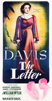 """The Letter (Warner Brothers, 1940). Three Sheet (41.5"""" X 79"""")"""
