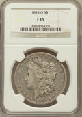 Morgan Dollars: , 1895-O $1 Fine 15 NGC. NGC Census: (104/3867). PCGS Population(219/4238). Mintage: 450,000. Numismedia Wsl. Price for prob...