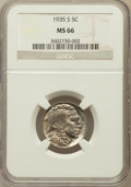 Buffalo Nickels: , 1935-S 5C MS66 NGC. NGC Census: (123/10). PCGS Population (401/31).Mintage: 10,300,000. Numismedia Wsl. Price for problem ...