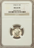 Mercury Dimes: , 1934-D 10C MS64 Full Bands NGC. NGC Census: (47/108). PCGSPopulation (222/430). Mintage: 6,772,000. Numismedia Wsl. Price ...