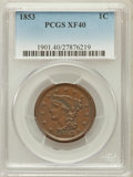 Large Cents: , 1853 1C XF40 PCGS. PCGS Population (72/905). NGC Census: (27/1256).Mintage: 6,641,131. Numismedia Wsl. Price for problem f...
