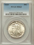 Walking Liberty Half Dollars: , 1939 50C MS63 PCGS. PCGS Population (486/4294). NGC Census:(205/2893). Mintage: 6,820,808. Numismedia Wsl. Price for probl...