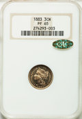 1883 3CN PR65 NGC. Gold CAC. NGC Census: (503/376). PCGS Population (508/418). Mintage: 6,609. Numismedia Wsl. Price for...