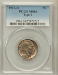 Buffalo Nickels: , 1913-D 5C Type One MS64 PCGS. PCGS Population (1021/1116). NGCCensus: (659/687). Mintage: 5,337,000. Numismedia Wsl. Price...