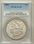Morgan Dollars: , 1899 $1 AU55 PCGS. PCGS Population (251/10473). NGC Census:(189/7991). Mintage: 330,846. Numismedia Wsl. Price for problem...