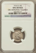 Barber Dimes, 1914-D 10C -- Obverse Improperly Cleaned -- NGC Details. UNC. NGCCensus: (2/357). PCGS Population (6/370). Mintage: 11,908...