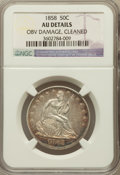 Seated Half Dollars, 1858 50C -- Cleaned, Obverse Damage -- NGC Details. AU. NGC Census:(35/354). PCGS Population (64/314). Mintage: 4,226,000....