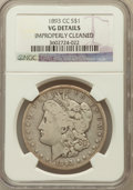 Morgan Dollars, 1893-CC $1 -- Improperly Cleaned -- NGC Details. VG. NGC Census:(118/3026). PCGS Population (162/5496). Mintage: 677,0...
