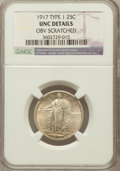 Standing Liberty Quarters, 1917 25C Type One -- Obverse Scratched -- NGC Details. UNC. NGCCensus: (3/1135). PCGS Population (19/1563). Mintage: 8...