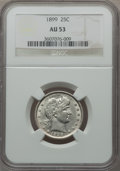 Barber Quarters: , 1899 25C AU53 NGC. NGC Census: (7/256). PCGS Population (12/324).Mintage: 12,624,846. Numismedia Wsl. Price for problem fr...