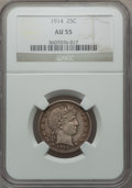 Barber Quarters: , 1914 25C AU55 NGC. NGC Census: (25/481). PCGS Population (43/550).Mintage: 6,244,610. Numismedia Wsl. Price for problem fr...