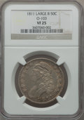 Bust Half Dollars: , 1811 50C Large 8 VF25 NGC. O-103. NGC Census: (20/862). PCGSPopulation (7/348). Mintage: 1,203,644. Numismedia Wsl. Price...