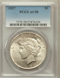 Peace Dollars: , 1927 $1 AU58 PCGS. PCGS Population (472/5774). NGC Census:(327/4170). Mintage: 848,000. Numismedia Wsl. Price for problem ...