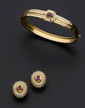 Estate Jewelry:Suites, Ruby, Synthetic Ruby, Diamond, Gold Jewelry. ... (Total: 2 Items)