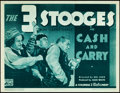 "Movie Posters:Comedy, The Three Stooges in Cash and Carry (Columbia, 1937). Title Lobby Card (11"" X 14"").. ..."