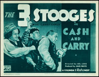 "The Three Stooges in Cash and Carry (Columbia, 1937). Title Lobby Card (11"" X 14"")"