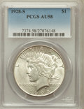 Peace Dollars: , 1928-S $1 AU58 PCGS. PCGS Population (387/4977). NGC Census:(371/3677). Mintage: 1,632,000. Numismedia Wsl. Price for prob...