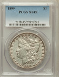 Morgan Dollars: , 1899 $1 XF45 PCGS. PCGS Population (96/10948). NGC Census:(54/8307). Mintage: 330,846. Numismedia Wsl. Price for problem f...