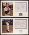 Baseball Collectibles:Photos, Joe DiMaggio and Ted Williams Signed Photograph Displays Lot of2....