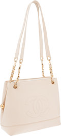 Luxury Accessories:Bags, Chanel Ivory Caviar Leather Shoulder Bag with CC. ...