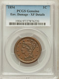 Large Cents, 1854 1C -- Environmental Damage -- PCGS Genuine. XF Details. NGCCensus: (21/784). PCGS Population (43/550). Mintage: 4...