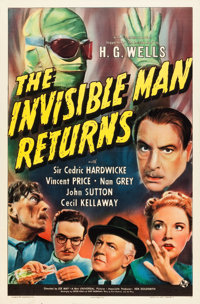 "The Invisible Man Returns (Universal, 1940). One Sheet (27"" X 41"")"