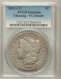 Morgan Dollars, 1893-CC $1 -- Cleaning -- PCGS Genuine. VG Details. NGC Census:(118/3026). PCGS Population (162/5496). Mintage: 677,00...