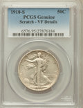 Walking Liberty Half Dollars, 1918-S 50C -- Scratch -- PCGS Genuine. VF Details. NGC Census:(5/778). PCGS Population (8/1173). Mintage: 10,282,000. Numi...