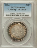 Bust Half Dollars, 1826 50C -- Cleaning -- PCGS Genuine. VF Details. NGC Census:(15/1497). PCGS Population (16/1794). Mintage: 4,000,000. Num...