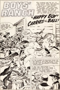 "Original Comic Art:Splash Pages, Jack Kirby Boys' Ranch #6 ""Happy Boy Carries the Ball""Splash Page 1 Original Art (Harvey, 1951)...."