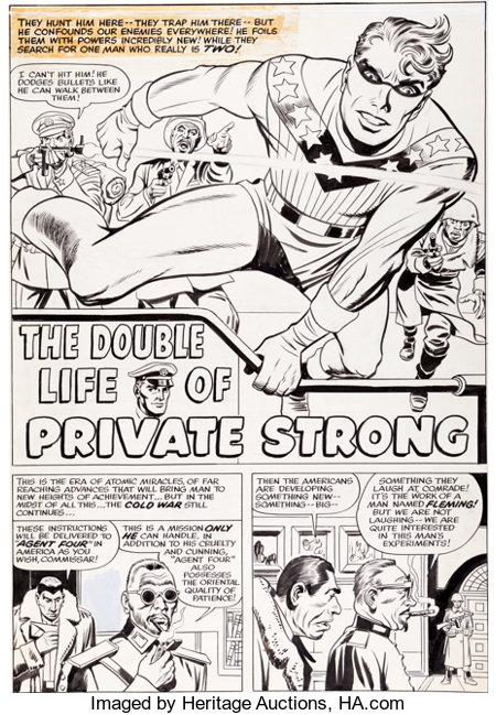 Jack Kirby and Joe Simon Double Life of Private Strong #1 Title Page 1 Original Art (Archie, 1959)....