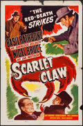 """Movie Posters:Mystery, The Scarlet Claw (Realart, R-1948). One Sheet (27"""" X 41"""").Mystery.. ..."""