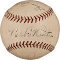 Autographs:Baseballs, Late 1920's Babe Ruth & Lou Gehrig Dual-Signed Baseball,PSA/DNA NM-MT 8....