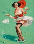 Pin-up and Glamour Art, GIL ELVGREN (American, 1914-1980). Fresh Breeze, Brown &Bigelow calendar illustration, 1960. Oil on canvas. 30 x 24in....