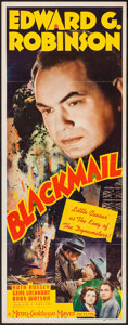 "Movie Posters:Crime, Blackmail (MGM, 1939). Insert (14"" X 36""). Crime.. ..."