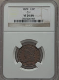 Half Cents: , 1829 1/2 C VF30 NGC. C-1. NGC Census: (8/251). PCGS Population(14/272). Mintage: 487,000. Numismedia Wsl. Price for probl...