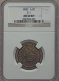 Half Cents: , 1833 1/2 C AU50 NGC. C-1. NGC Census: (14/386). PCGS Population(45/390). Mintage: 120,000. Numismedia Wsl. Price for prob...