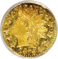 California Fractional Gold, 1874 25C Indian Round 25 Cents, BG-875, High R.4, MS62 NGC. NGCCensus: (1/2). PCGS Population (7/53). (#10736)...