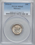 Mercury Dimes: , 1916-S 10C MS65 PCGS. PCGS Population (135/52). NGC Census:(95/55). Mintage: 10,450,000. Numismedia Wsl. Price for problem...