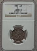 Half Cents: , 1855 1/2 C AU58 NGC. C-1. NGC Census: (60/528). PCGS Population(89/365). Mintage: 56,500. Numismedia Wsl. Price for probl...