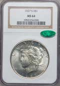 Peace Dollars, 1927-S $1 MS64 NGC. CAC....