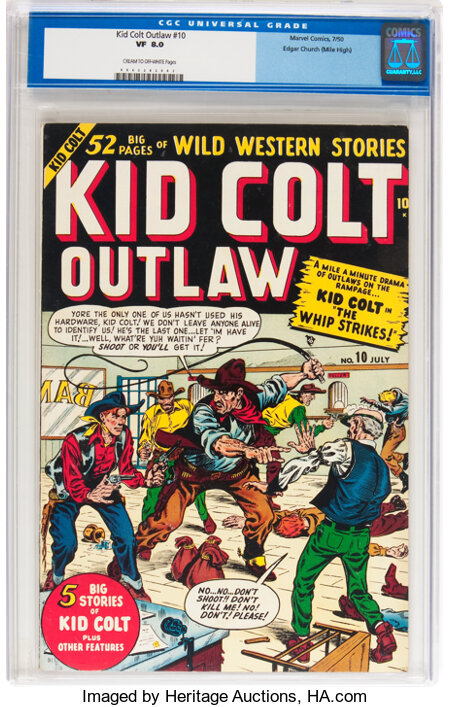 Kid Colt Outlaw #10 Mile High pedigree (Atlas/Marvel, 1950) CGC VF 8.0 Cream to off-white pages....