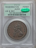 Colonials, Undated PENNY Washington Liberty & Security Penny AU55 PCGS. CAC. Baker-30, W-11050, R.2....