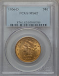 Liberty Eagles: , 1906-D $10 MS62 PCGS. PCGS Population (1052/676). NGC Census:(1322/780). Mintage: 981,000. Numismedia Wsl. Price for probl...